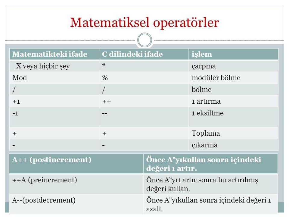 Matematiksel operatörler