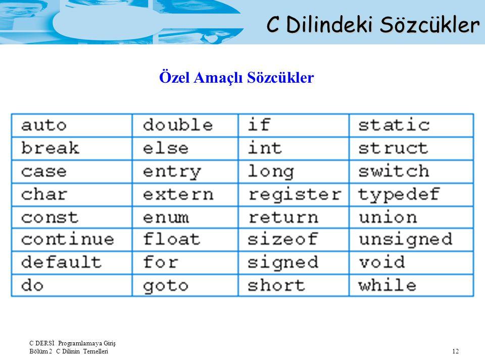 C Dilindeki Sözcükler Özel Amaçlı Sözcükler