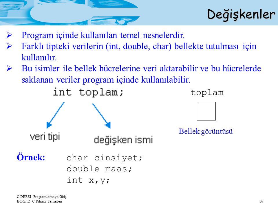 Değişkenler Program içinde kullanılan temel nesnelerdir.