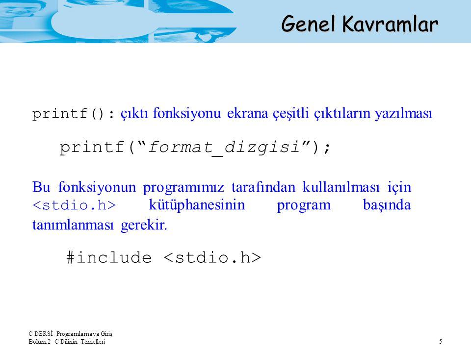 Genel Kavramlar printf( format_dizgisi ); #include <stdio.h>