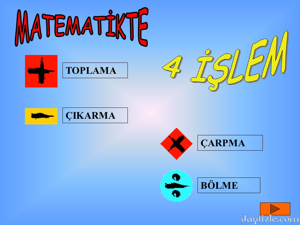 MATEMATİKTE 4 İŞLEM TOPLAMA ÇIKARMA ÇARPMA BÖLME