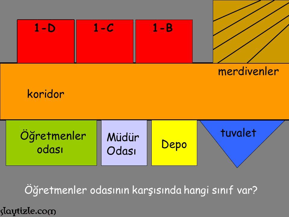 1-D 1-C 1-B merdivenler koridor tuvalet Öğretmenler odası Müdür Odası