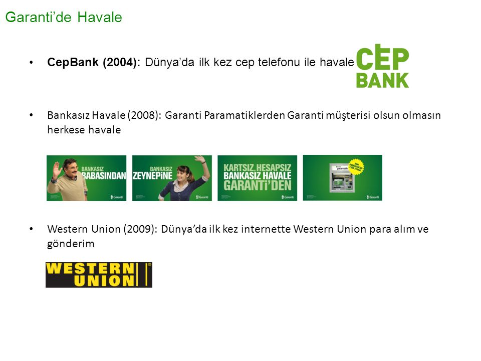Garanti'de Havale CepBank (2004): Dünya'da ilk kez cep telefonu ile havale.