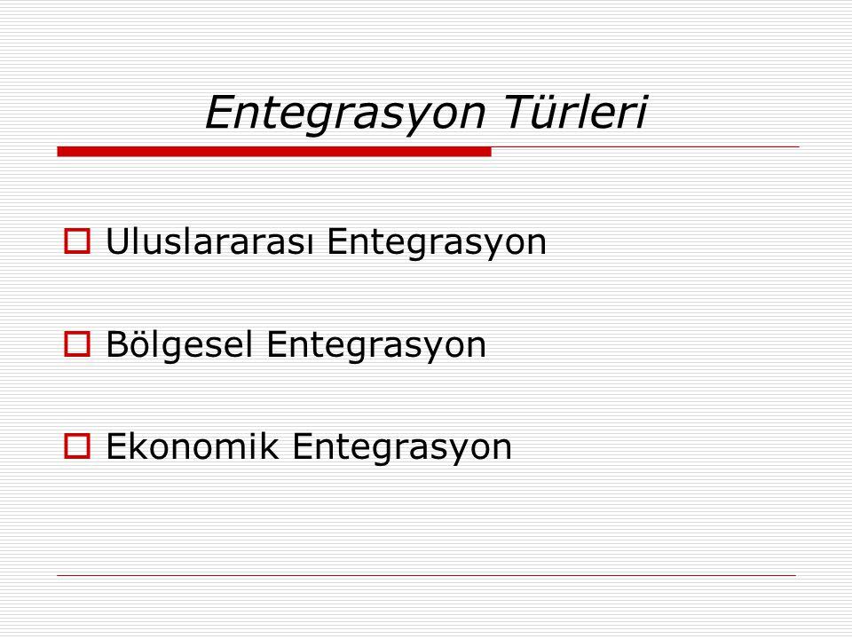 Entegrasyon Türleri Uluslararası Entegrasyon Bölgesel Entegrasyon
