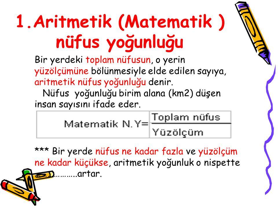 1.Aritmetik (Matematik ) nüfus yoğunluğu