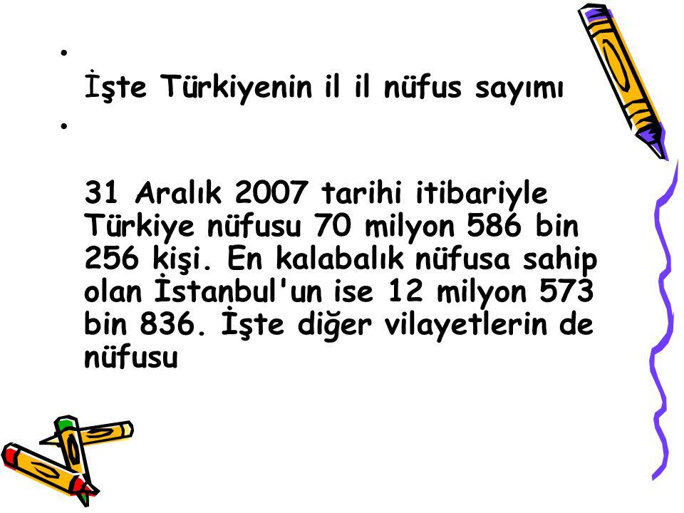 İşte Türkiyenin il il nüfus sayımı