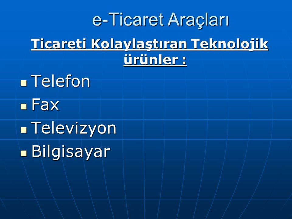Ticareti Kolaylaştıran Teknolojik ürünler :