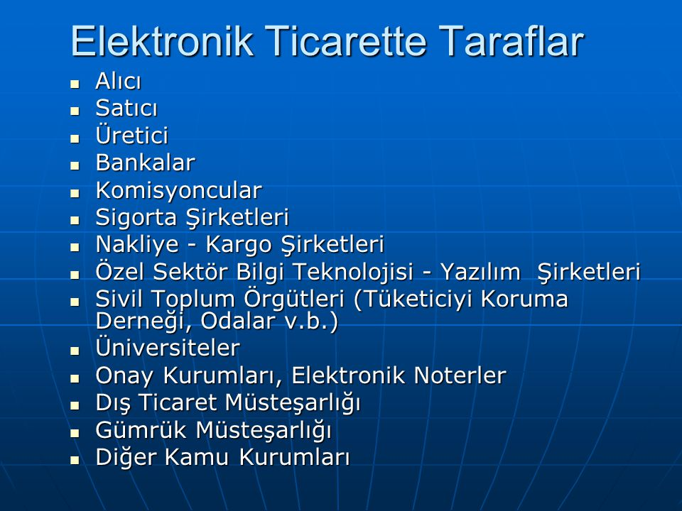 Elektronik Ticarette Taraflar