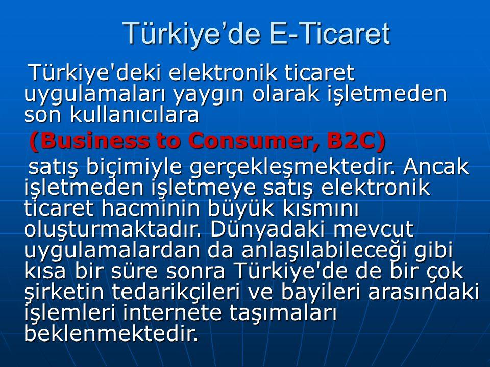 Türkiye'de E-Ticaret Türkiye deki elektronik ticaret uygulamaları yaygın olarak işletmeden son kullanıcılara.