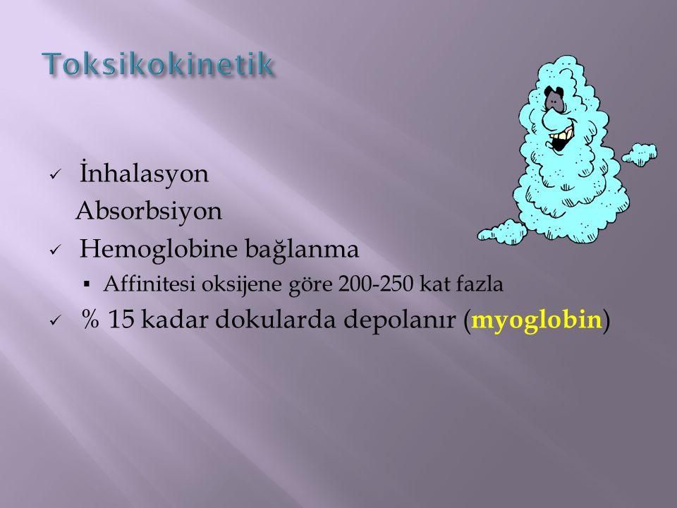 Toksikokinetik İnhalasyon Absorbsiyon Hemoglobine bağlanma