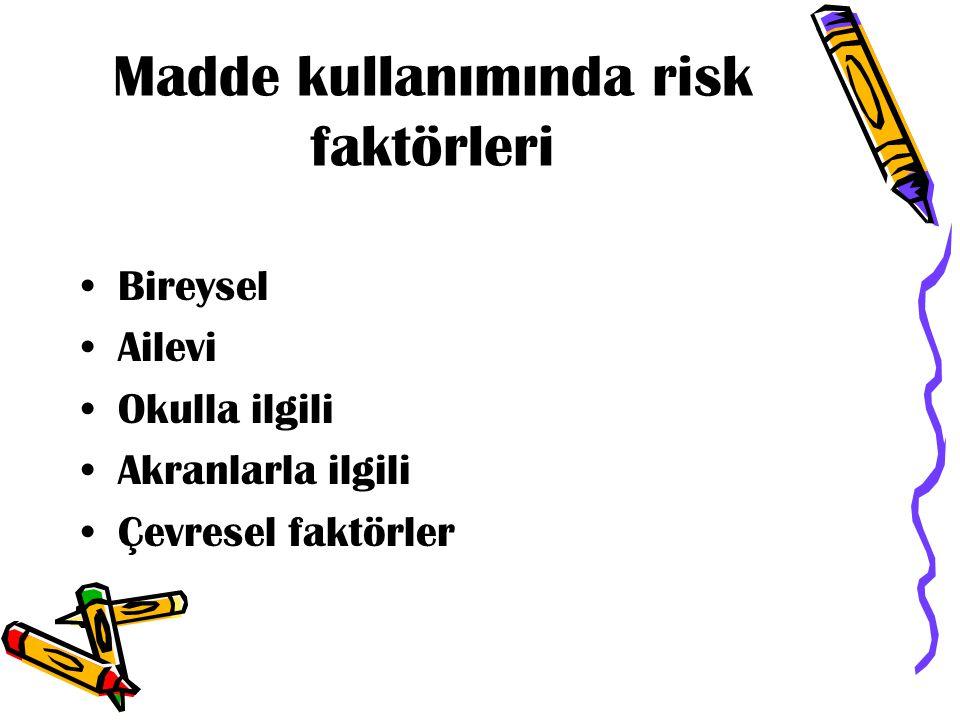 Madde kullanımında risk faktörleri