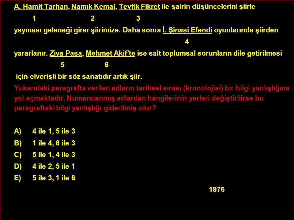 A. Hamit Tarhan, Namık Kemal, Tevfik Fikret ile şairin düşüncelerini şiirle