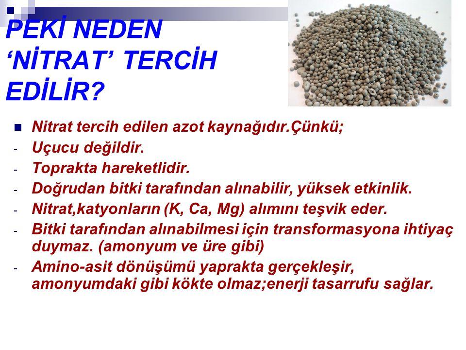 PEKİ NEDEN 'NİTRAT' TERCİH EDİLİR
