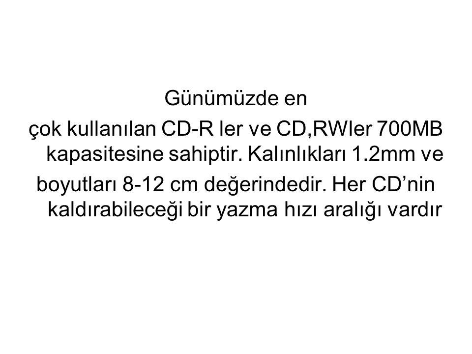 Günümüzde en çok kullanılan CD-R ler ve CD,RWler 700MB kapasitesine sahiptir. Kalınlıkları 1.2mm ve.