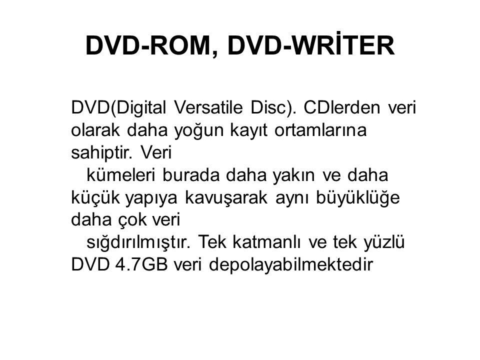 DVD-ROM, DVD-WRİTER DVD(Digital Versatile Disc). CDlerden veri olarak daha yoğun kayıt ortamlarına sahiptir. Veri.