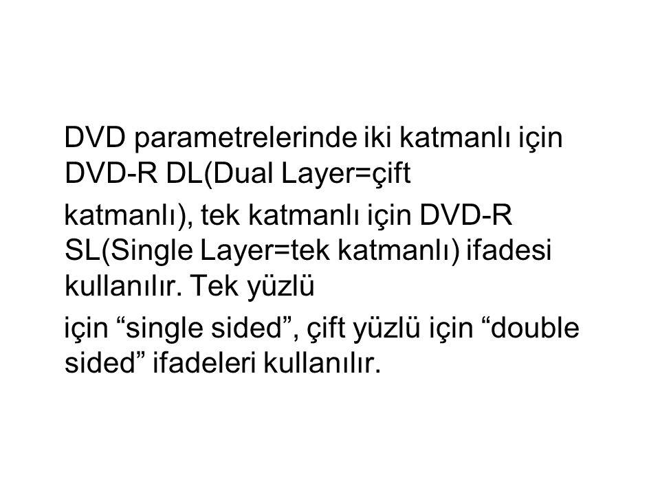 DVD parametrelerinde iki katmanlı için DVD-R DL(Dual Layer=çift