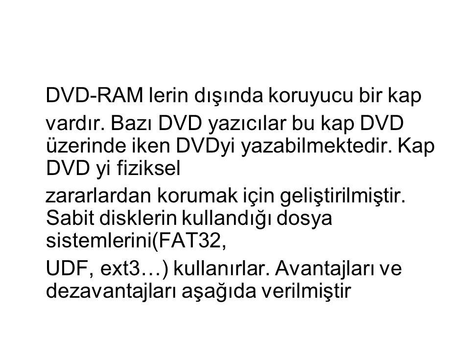 DVD-RAM lerin dışında koruyucu bir kap