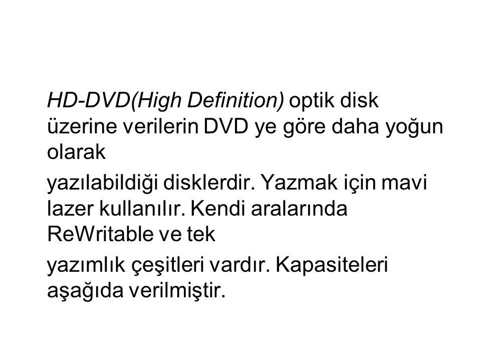 HD-DVD(High Definition) optik disk üzerine verilerin DVD ye göre daha yoğun olarak