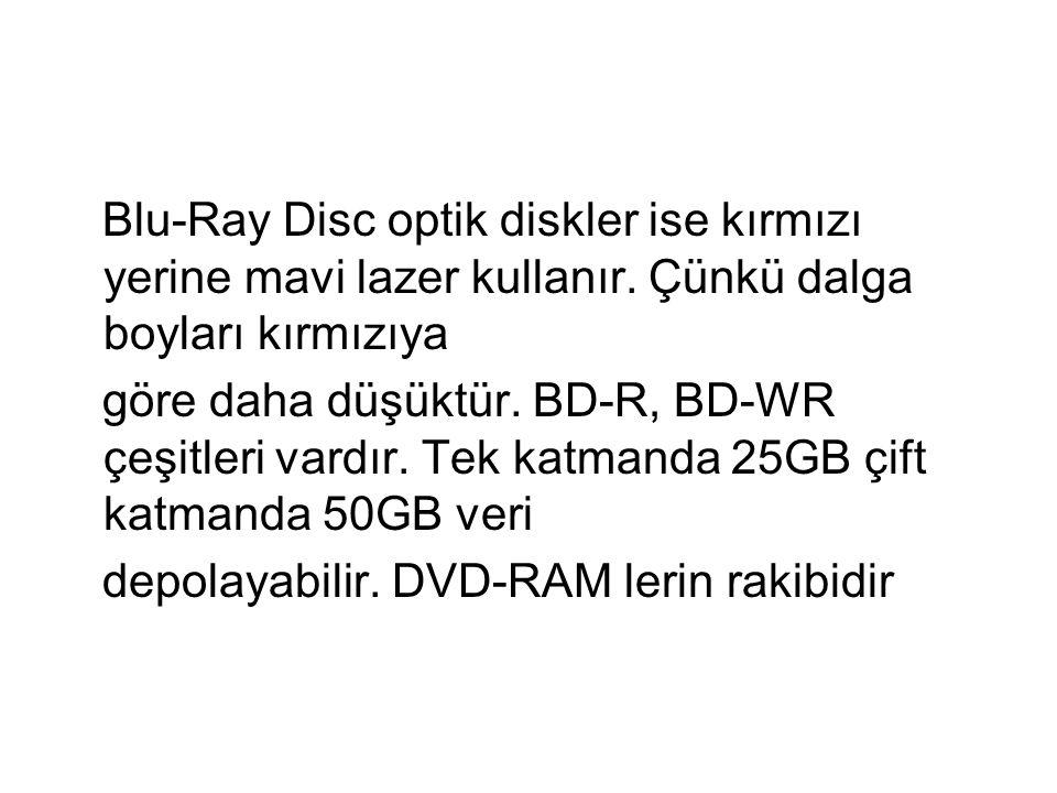 Blu-Ray Disc optik diskler ise kırmızı yerine mavi lazer kullanır