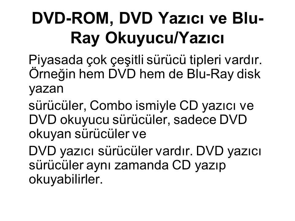 DVD-ROM, DVD Yazıcı ve Blu-Ray Okuyucu/Yazıcı