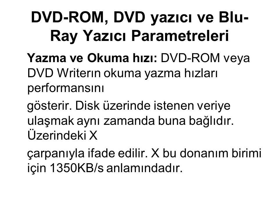 DVD-ROM, DVD yazıcı ve Blu-Ray Yazıcı Parametreleri