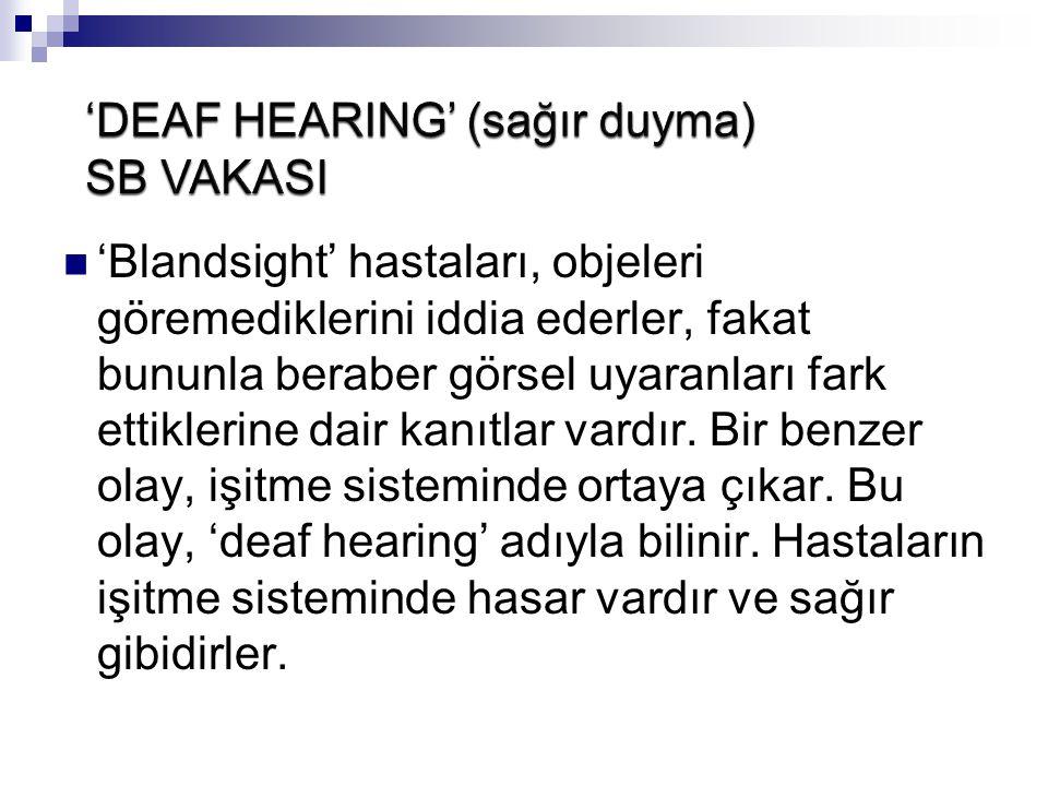 'DEAF HEARING' (sağır duyma) SB VAKASI