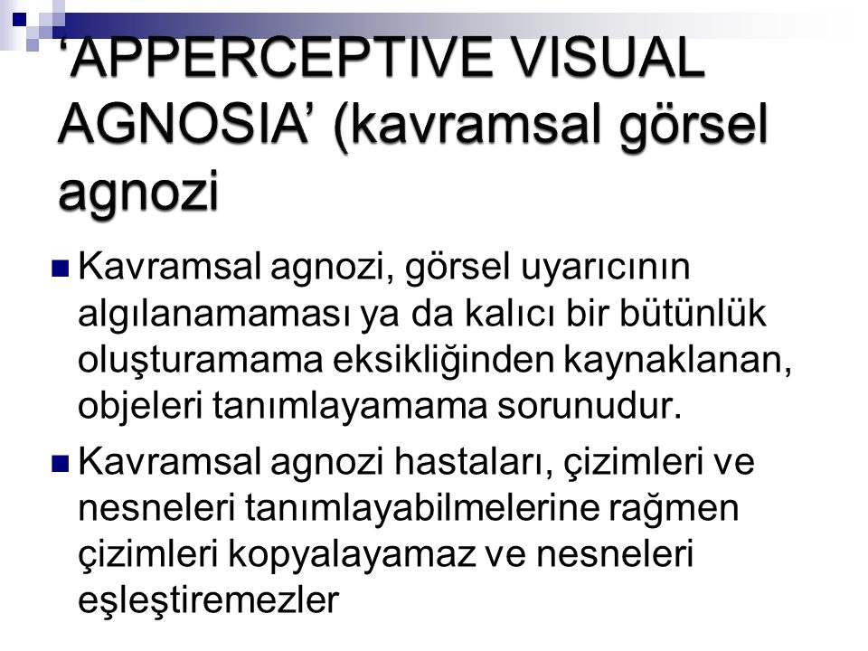'APPERCEPTIVE VISUAL AGNOSIA' (kavramsal görsel agnozi