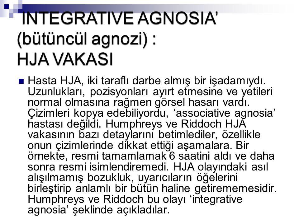 INTEGRATIVE AGNOSIA' (bütüncül agnozi) : HJA VAKASI