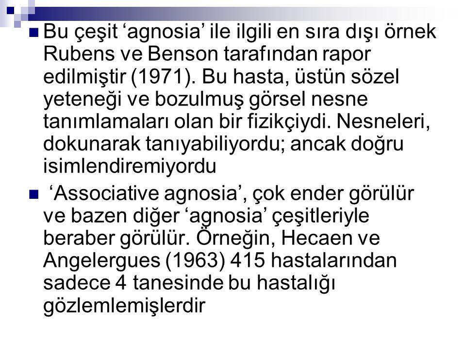Bu çeşit 'agnosia' ile ilgili en sıra dışı örnek Rubens ve Benson tarafından rapor edilmiştir (1971). Bu hasta, üstün sözel yeteneği ve bozulmuş görsel nesne tanımlamaları olan bir fizikçiydi. Nesneleri, dokunarak tanıyabiliyordu; ancak doğru isimlendiremiyordu