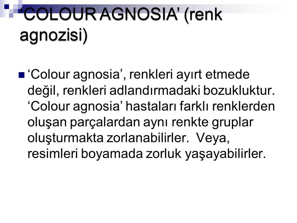 'COLOUR AGNOSIA' (renk agnozisi)