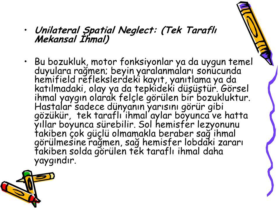 Unilateral Spatial Neglect: (Tek Taraflı Mekansal İhmal)