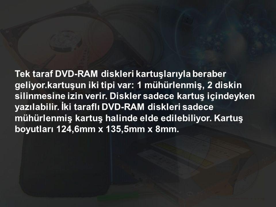 Tek taraf DVD-RAM diskleri kartuşlarıyla beraber geliyor