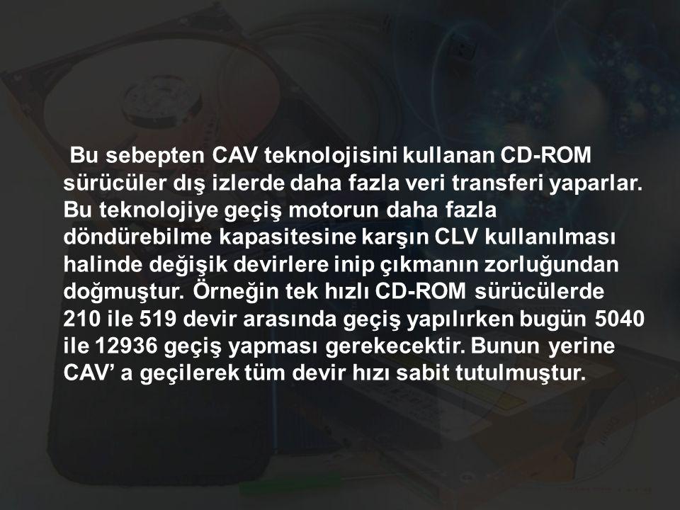 Bu sebepten CAV teknolojisini kullanan CD-ROM sürücüler dış izlerde daha fazla veri transferi yaparlar.