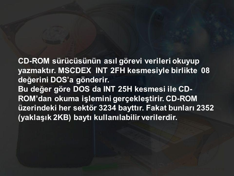 CD-ROM sürücüsünün asıl görevi verileri okuyup yazmaktır