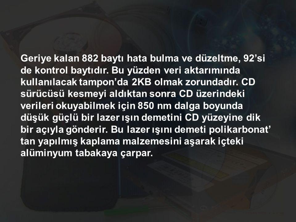 Geriye kalan 882 baytı hata bulma ve düzeltme, 92'si de kontrol baytıdır.