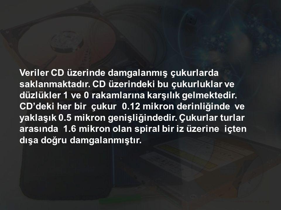 Veriler CD üzerinde damgalanmış çukurlarda saklanmaktadır
