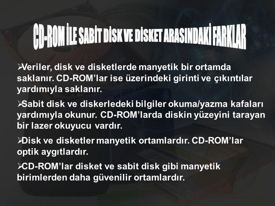CD-ROM İLE SABİT DİSK VE DİSKET ARASINDAKİ FARKLAR