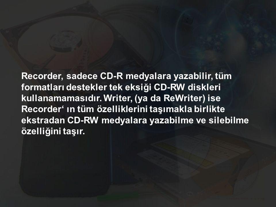 Recorder, sadece CD-R medyalara yazabilir, tüm formatları destekler tek eksiği CD-RW diskleri kullanamamasıdır.