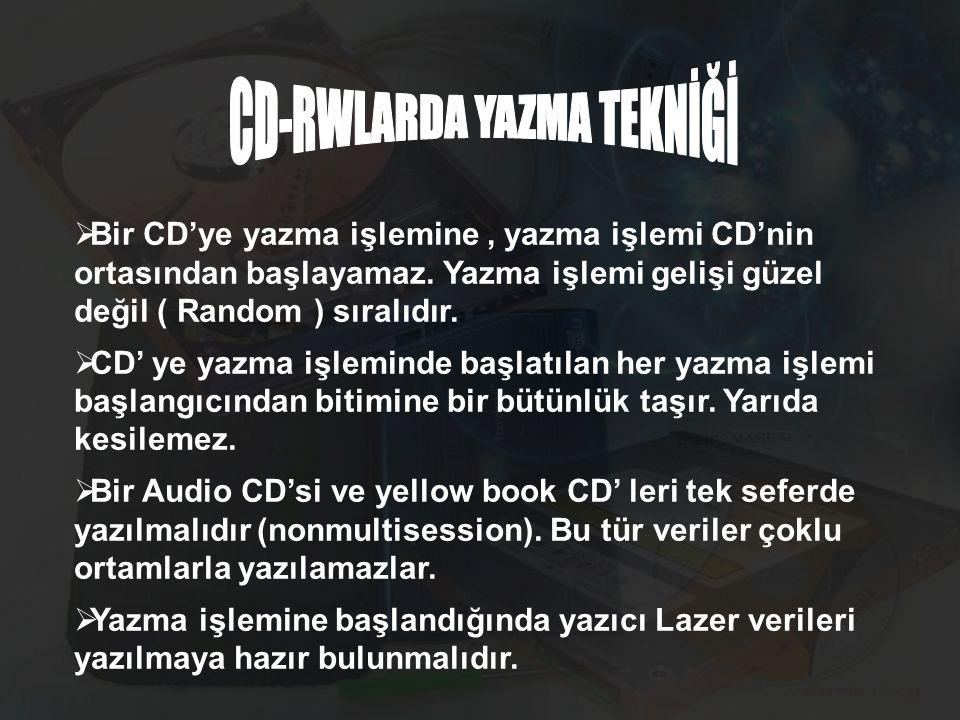 CD-RWLARDA YAZMA TEKNİĞİ