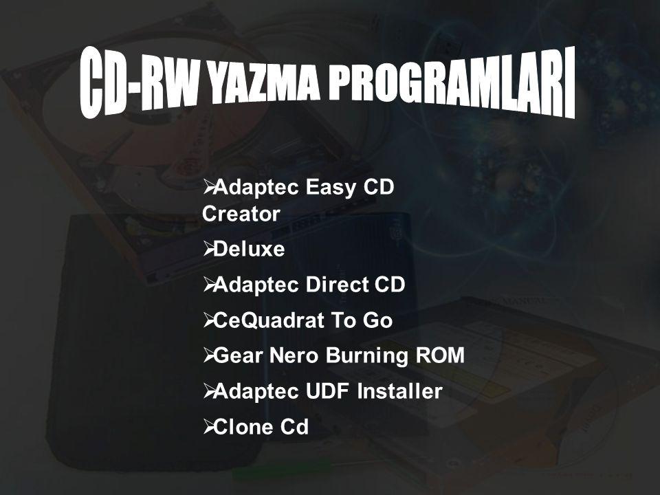 CD-RW YAZMA PROGRAMLARI