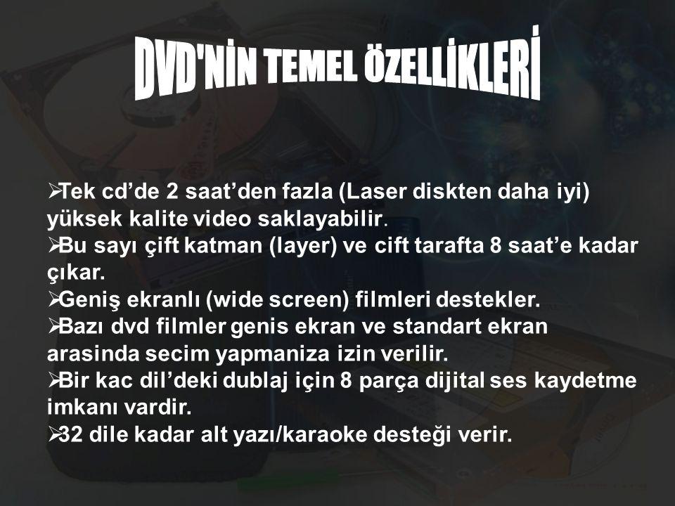 DVD NİN TEMEL ÖZELLİKLERİ