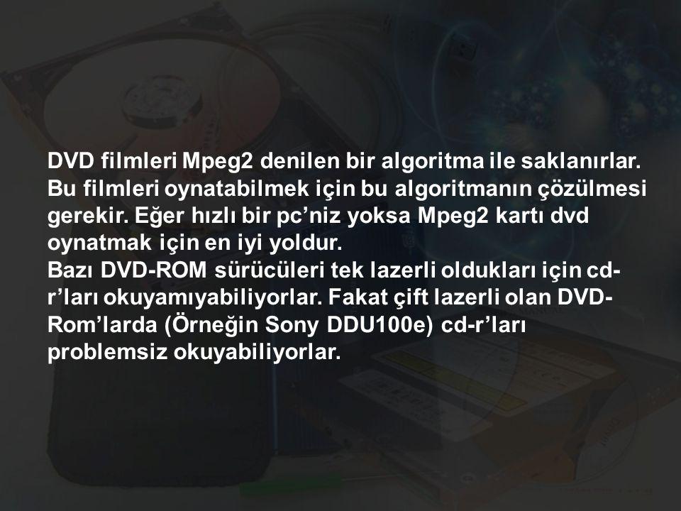 DVD filmleri Mpeg2 denilen bir algoritma ile saklanırlar