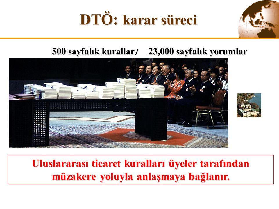DTÖ: karar süreci 500 sayfalık kurallar/ 23,000 sayfalık yorumlar. The WTO is a trading system based on rules.
