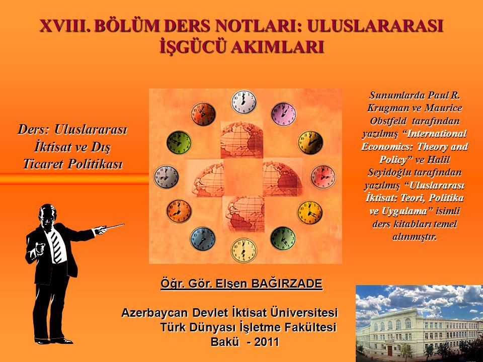 XVIII. BÖLÜM DERS NOTLARI: ULUSLARARASI Öğr. Gör. Elşen BAĞIRZADE