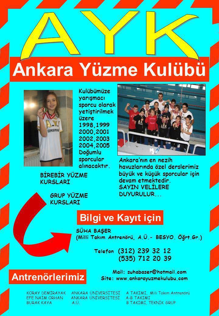 AYK Ankara Yüzme Kulübü Bilgi ve Kayıt için Antrenörlerimiz