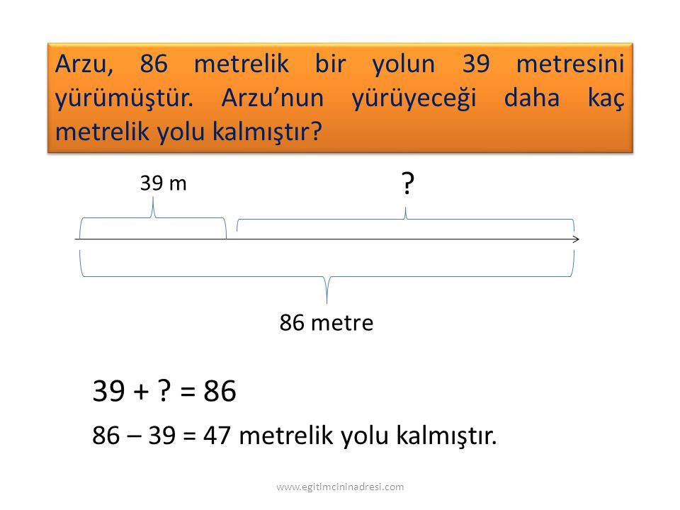 Arzu, 86 metrelik bir yolun 39 metresini yürümüştür