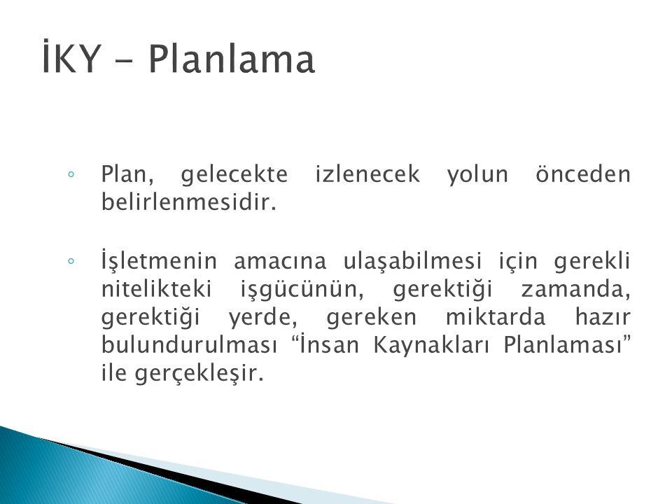 İKY - Planlama Plan, gelecekte izlenecek yolun önceden belirlenmesidir.