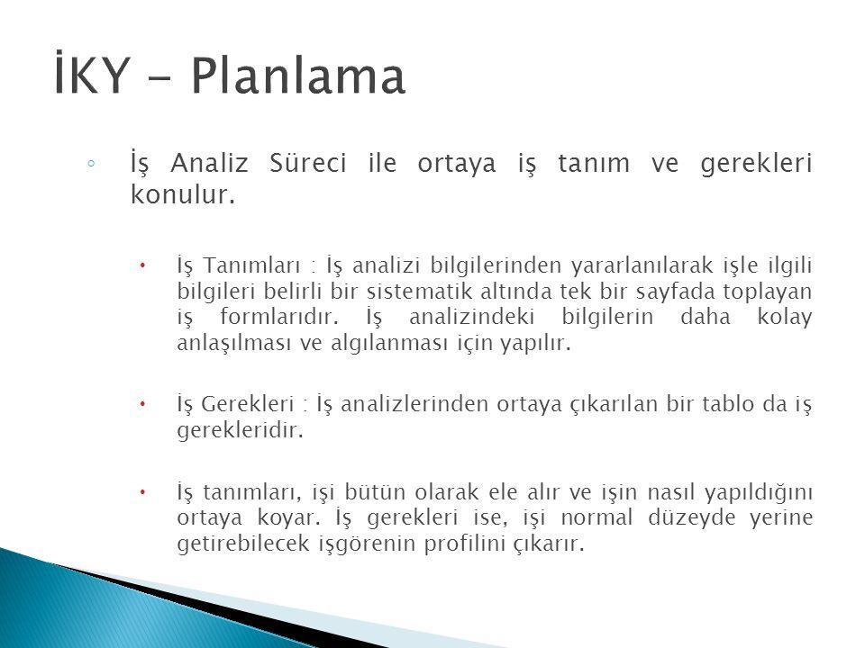 İKY - Planlama İş Analiz Süreci ile ortaya iş tanım ve gerekleri konulur.