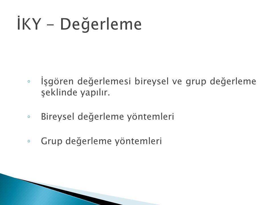 İKY - Değerleme İşgören değerlemesi bireysel ve grup değerleme şeklinde yapılır. Bireysel değerleme yöntemleri.