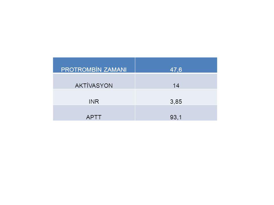 PROTROMBİN ZAMANI 47,6 AKTİVASYON 14 INR 3,85 APTT 93,1